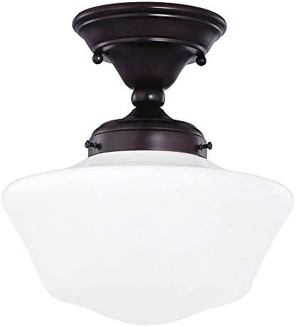Design Classics Lighting 10 Inch Bronze Retro Farm Style Schoolhouse Ceiling Light with Milk Frosted Glass