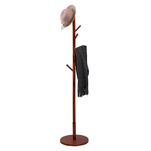 maxgoods Coat Rack Free Standing Clothes Rack DIY Heavy Duty Entryway Wooden Rack Hat Rack Corner Hall Umbrella Stand Hall Tree for Bedroom Living Room Office,Easy Assemble (Size 5)