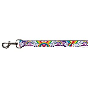 Buckle Down 0.5″ Narrow Unicorns in Rainbows with Sparkles/Purple Dog Leash, 4′