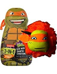 Teenage Mutant Ninja Turtles 3-in-1 Shampoo, Body Wash, Conditioner with Shower Teenage Mutant Ninja Turtles Pouf (Michelangelo(CITRUS COOL))