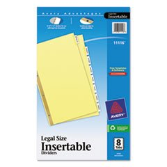 (3 Pack Value Bundle) AVE11116 WorkSaver Insertable Tab Index Dividers, 8-Tab, Legal, Clear, 8/Set ()