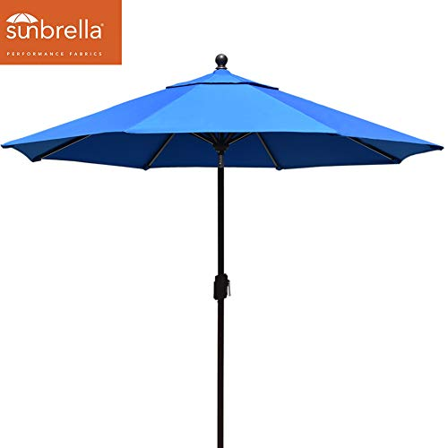 EliteShade Sunbrella 9Ft Market Umbrella Patio Outdoor Table Umbrella with Ventilation (Sunbrella Royal Blue) ()
