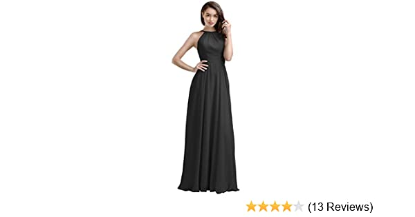 66dc59d8c5 Amazon.com: AW Bridal Women's Bridesmaid Dresses Long Evening Dresses  Chiffon Formal Dresses for Women, Black, US0: Clothing