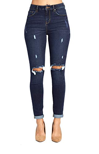 Blue Age Women's Well Stretch Destroyed Denim Skinny Jeans ()