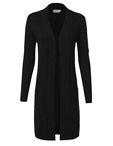 MAYSIX APPAREL Long Sleeve Long Line Knit Sweater Open Front Cardigan W/pocket For Women BLACK (Fitted Cardigan Sweater)