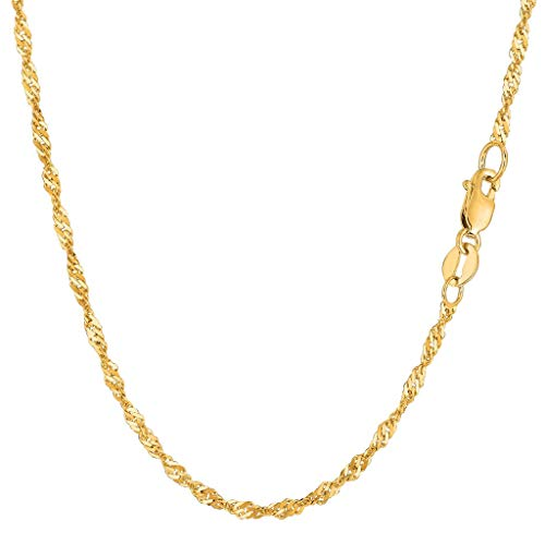 14K Yellow or White Gold 2.1mm Shiny Diamond-Cut Classic Singapore Chain Necklace for Pendants and Charms with Lobster-Claw Clasp (7