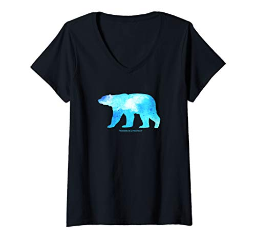 Womens Preserve & Protect Polar Bear - Watercolor Design  V-Neck T-Shirt ()