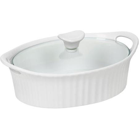 French White III 1.5-Quart Oval Casserole with Glass Cover, Classic, Fluted Design, White
