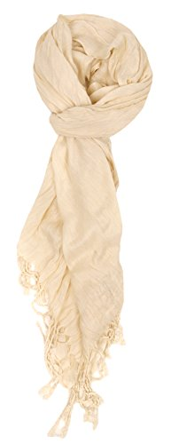 Love Lakeside-Women's Must Have Solid Color Crinkle Scarf Ivory