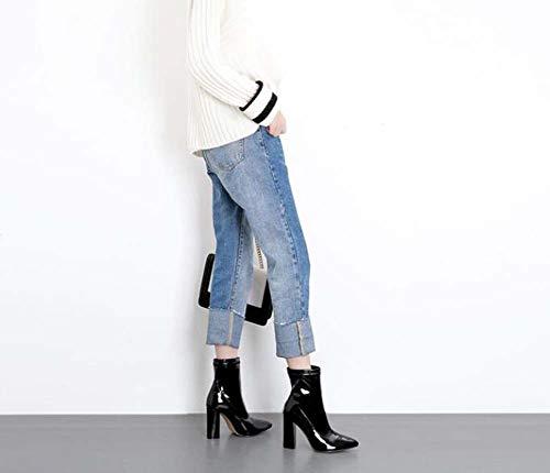 Puro Colore Caviglia Abbigliamento Dimensioni 40 Donne Stivali Puntato Chunkly Bootie 10Cm Tacco Scarpe Cerniera Black Eu Martin 35 wqf8F