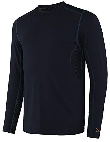 Terramar Men's Stalker Camo Performance Long Sleeve Crew T-Shirt, Black, X-Large