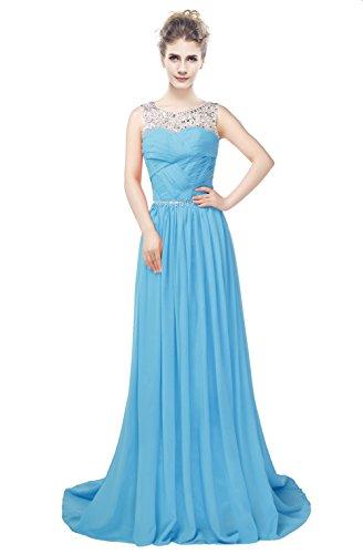 Pailletten Gerüscht engerla Rückenfrei Chiffon Frauen Sheer Kleid Kristall Ball Line A Himmelblau Träger SxxptOq6