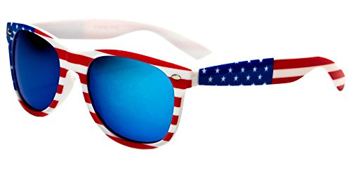 V.W.E. White Classic American Patriot Flag Wayfarer Style Sunglasses USA . (White Blue Mirror)