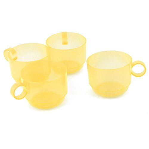 eDealMax plstico Home Cafe Crculo de la manija de t de agua porttil de almacenamiento de la leche del caf que bebe la taza de 4pcs amarillo