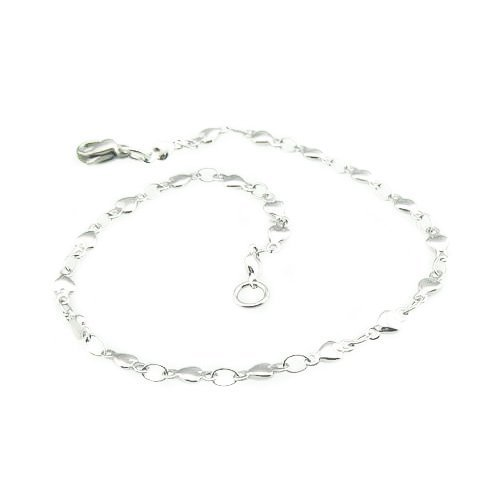 Tone Stainless Steel Heart Link Bracelet (8 Inches) - Longer Length (14k Heavy Charm Bracelet)