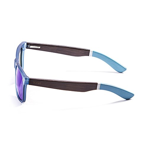 Ocean Sunglasses Beach Lunettes de Soleil Mixte Adulte, Bambo Dark Frame/Wood Dark White/Blue Arms/Revo Blue Lens