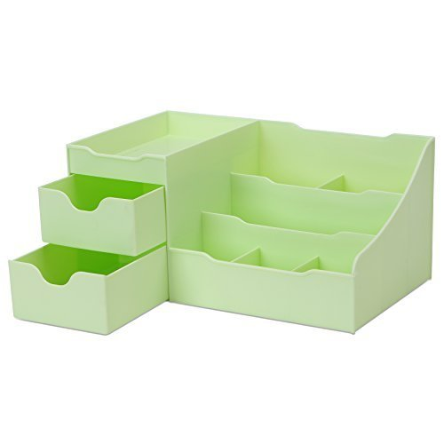 Uncluttered Designs Makeup Organizer with Drawers (Green) (Vanities For Sale Makeup)