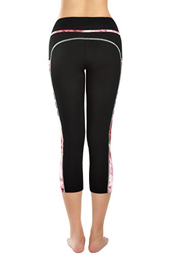 Neonysweets Women's Capri Workout Leggings with Pocket Running Yoga Pants Black/Printed XL