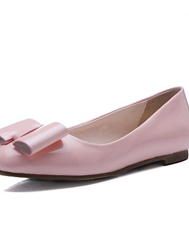 ZQ Zapatos de mujer - Tac¨®n Plano - Punta Redonda - Planos - Oficina y Trabajo / Vestido / Casual - Cuero Patentado -Negro / Rosa / Rojo / , pink-us9.5-10 / eu41 / uk7.5-8 / cn42 , pink-us9.5-10 / eu red-us3.5 / eu33 / uk1.5 / cn32