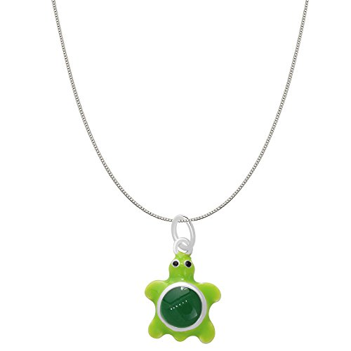 Enameled Green Turtle Charm on a 16 inch Sterling Silver Box Style (Green Enameled Turtle)