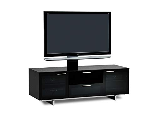 - BDI Avion Noir 8937 Triple Wide Entertainment Cabinet, Black Stained Oak