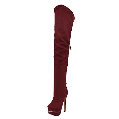 CASSOCK Women's Thigh-high Boots Platform Sexy Club Striper Booties Large Size Fashion Evening Boots Shoes DarkRed -