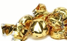 Gold Hard Candy Wrapped in Gold Foil -