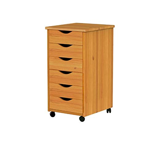 Pine Lateral Filing Cabinet with Removeble Drawers - 6-Drawer Mobile Storage Chest - Brown