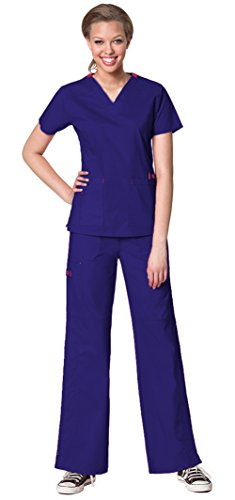 (WonderWink Women's WonderFlex Verity V-Neck Top 6108 and WonderFlex Faith Multi Pocket Cargo Pant 5108 Scrub Set (Grape - Medium/Medium)