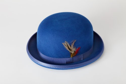 [New Mens 100% Wool Royal Blue Derby Bowler Hat] (40s Mobster Costumes)