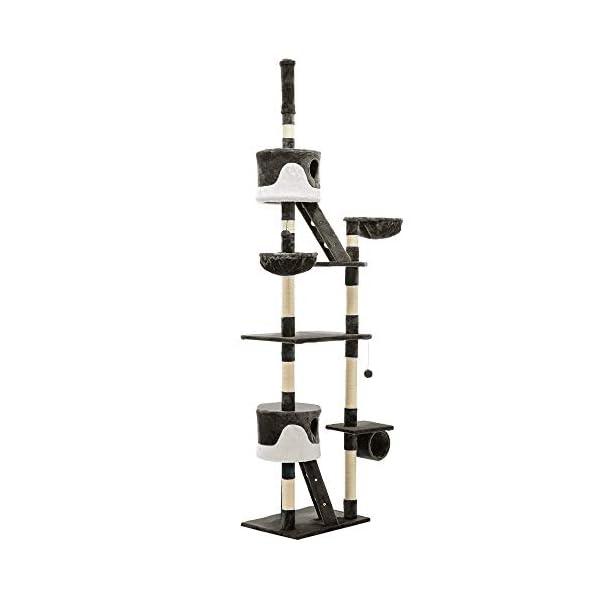 Cat Scratching Tree Post Sisal Pole Condo House Furniture Multi level Grey 260cm 1