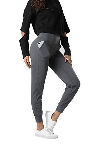 THE GYM PEOPLE Womens Joggers Pants with Pockets Athletic Leggings Tapered Lounge Pants for Workout, Yoga, Running (Small, Dark Grey)