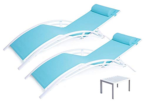 Kozyard KozyLounge Elegant Patio Reclining Adjustable Chaise Lounge Aluminum and Textilene Sunbathing Chair for All Weather with headrest (2 Pack), KD,Very Light, (Blue -