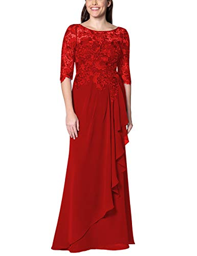 (EDressy Chiffon Mother of The Bride Dresses Long Evening Formal Gowns Flora Lace Prom Party Dress Half Sleeves Red US2)