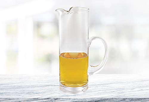 (D) Handcrafted 'Stoli' Lead Free Glass Cylinder Pitcher 54 Oz with ()