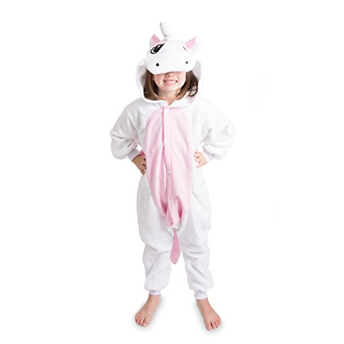 Emolly Fashion Kids Animal Unicorn Pajama Onesie - Soft and Comfortable with Pockets (10, Pink/WHT)