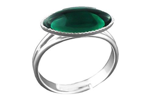 (925 Silver Plated Minimalist Ring Oval Flower Petal Adjustable Universal Size 15mm 7mm Crystal Emerald Green Czech Glass Stone Handmade Bohe)