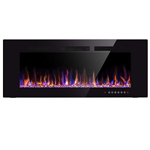 Xbeauty 60″ Electric Fireplace in-Wall Recessed and Wall Mounted 1500W Fireplace Heater and Linear Fireplace with Timer/Multicolor Flames/Touch Screen/Remote Control (Black) Review