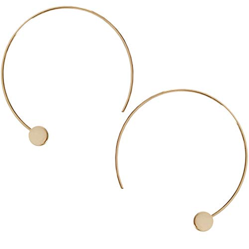 Humble Chic Disc Hoops - Modern Upside Down Curved Open Circle Threader Earrings