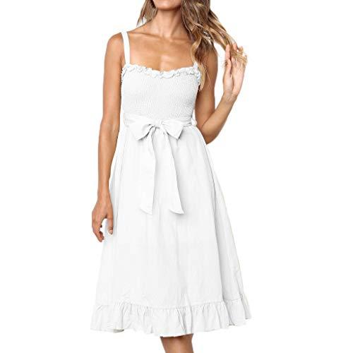ShenPourtor Womens Summer Dresses Boho Floral Print Spaghetti Strap Belt Swing A line Midi Dress with Pockets White