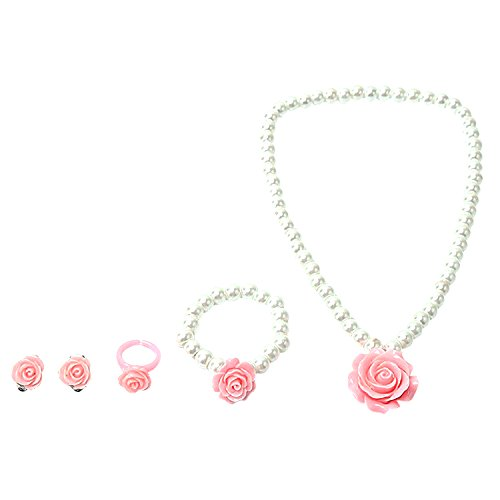 1 Set Children Pink Rose Pendent Jewelry Kit Necklace Bracelet Earrings Rings Set With White Pearl for Girl Best Gift -