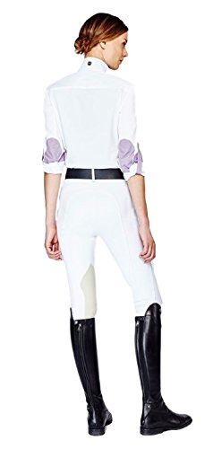 Asmar EquestrianウェリントンメッシュShowシャツ X-Large ホワイト/パープル B01N6XKQL2