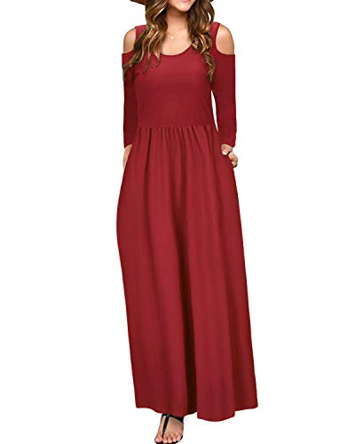 (STYLEWORD Women's Cold Shoulder Elegant Maxi Long Dress with Pocket(Wine-506,L))