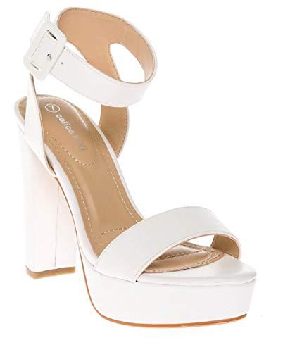 CALICO KIKI Women's Shoes Buckle Ankle Strap Open Toe Chunky High Heel Platform Dress Sandals (10 US, White_PU) ()