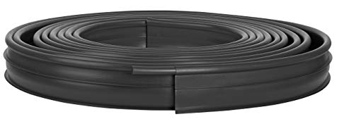Suncast Professional Landscape Edging Roll - Plastic Lawn Edging and Landscape Border with Double Ridge Design - Conforms to Any Shape - 60' Coiled Roll - Black