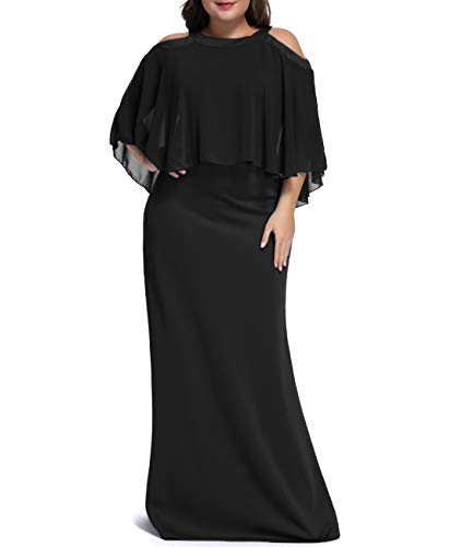 Urchics Womens Plus Size Chiffon Ruffle Cold Shoulder Evening Party Maxi Dress Black XXXL