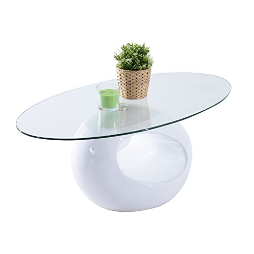 "HomCom 43"" Oval High Gloss Glass Coffee Table (White) (White Glass Top Coffee Table)"