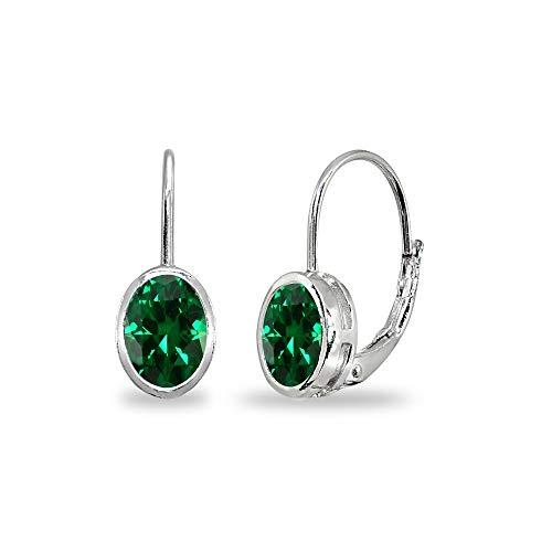 Sterling Silver Simulated Emerald 7x5mm Oval Bezel-Set Dainty Leverback Earrings for Women Teen - Emerald Sterling 7x5mm