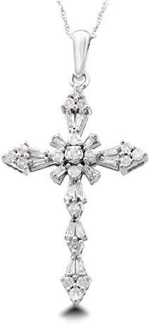Simulated Diamond Cross Pendant 18 Chain In 10K White Gold Plated 925 Sterling Silver Round Cut 1//5 CT T.W