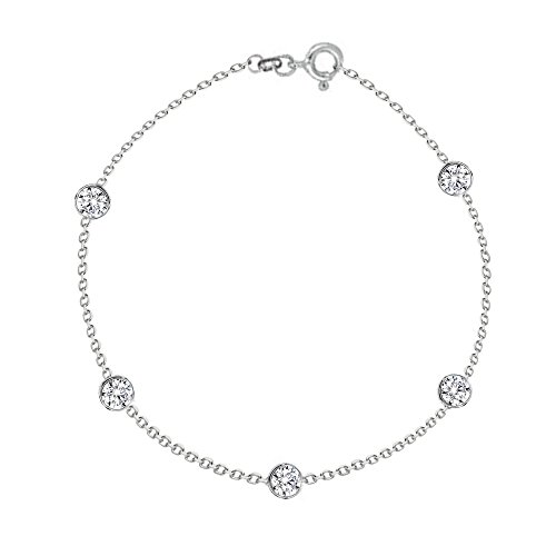 Ritastephens Sterling Silver Cubic Zirconia CZ by The Yard Station Anklet Anklet Bracelet 10 Inches